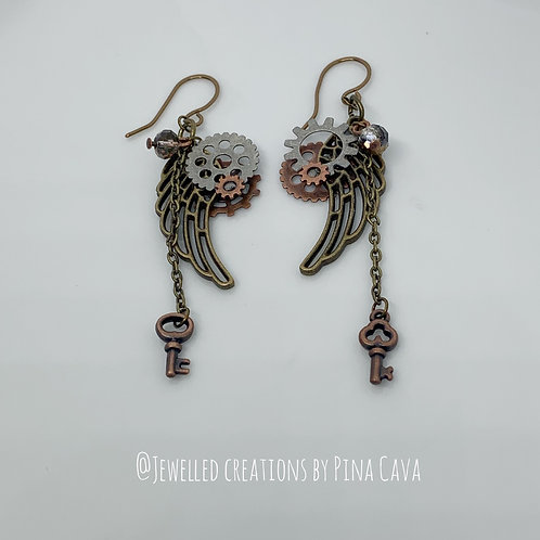 Winged Metal Earrings