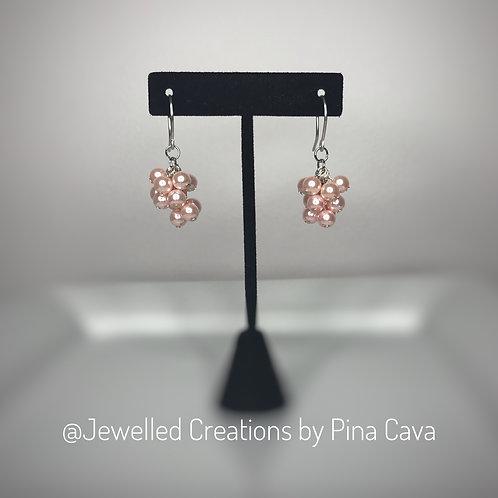 Pink Pearl Cluster Earrings