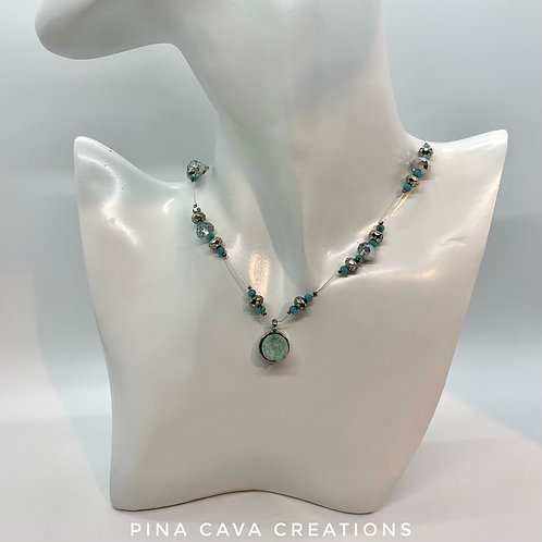 Aqua Floating Necklace