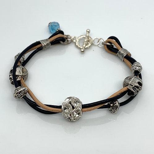 Elegant Skull Leather Bracelet