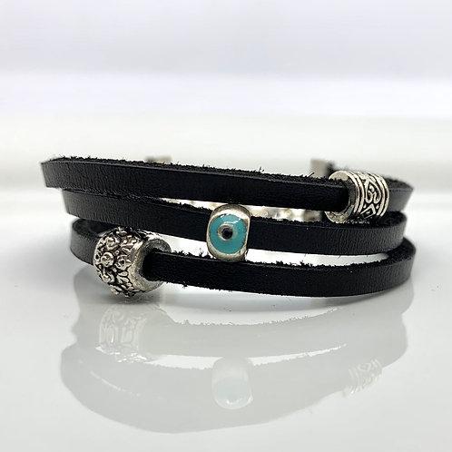 Evil Eye Leather Bracelet
