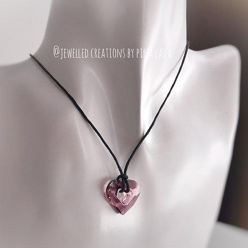 Pink Baroque Swarovski Crystal Heart Necklace