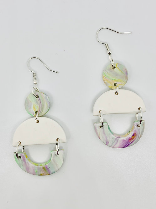 Marbled Polymer Clay Dangle Earrings