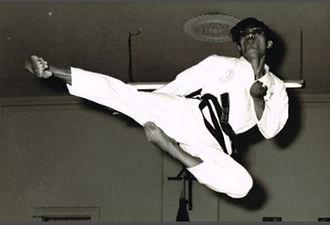 First Taekwon-do Perth WA - Master Venon Low flying side kick 1970s