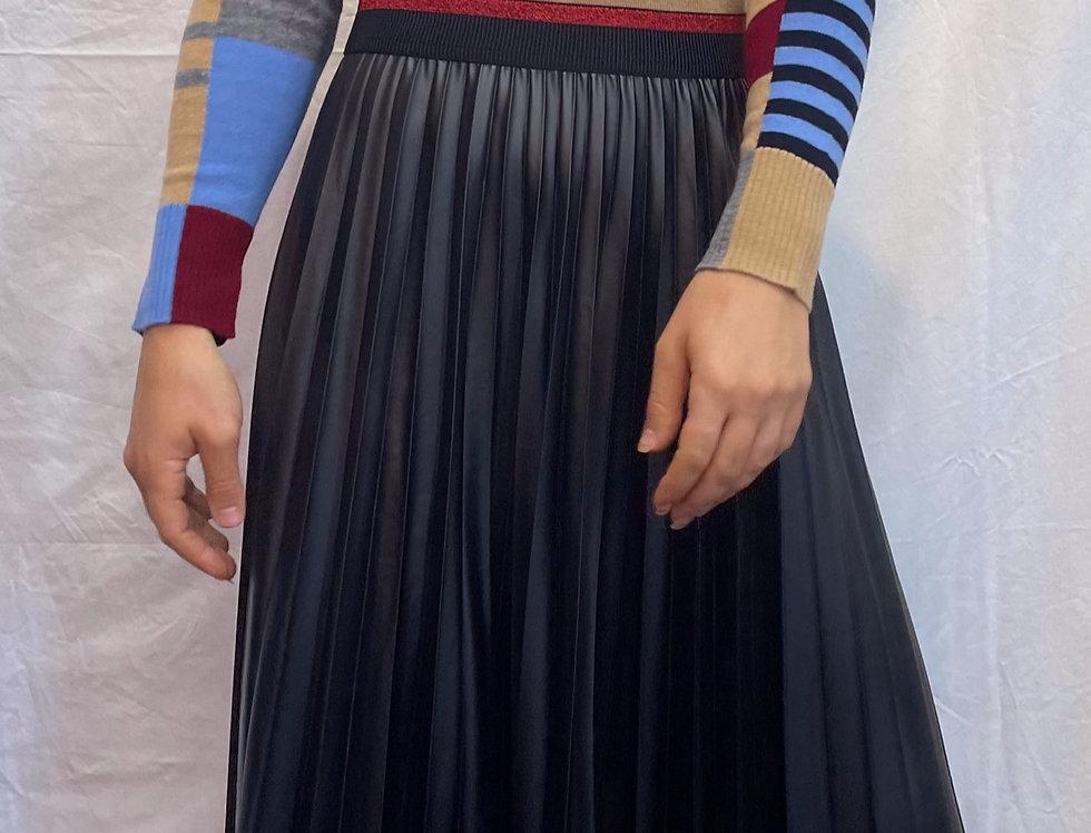 Pupa Forever Vegan Leather Pleated Midi Skirt