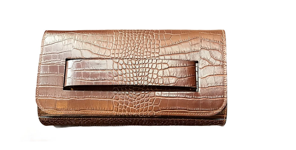 Genuine Stamped Leather Clutch
