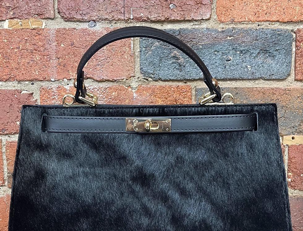 Faux Fur Genuine Leather Italian Handbag