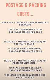 postage and packing costs pet portrait d