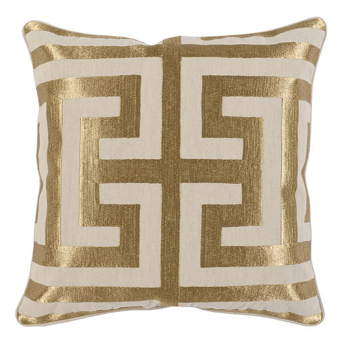 "GLAM GREEK 22"" GOLD PILLOW"