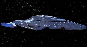 An Intrepid-class starship.
