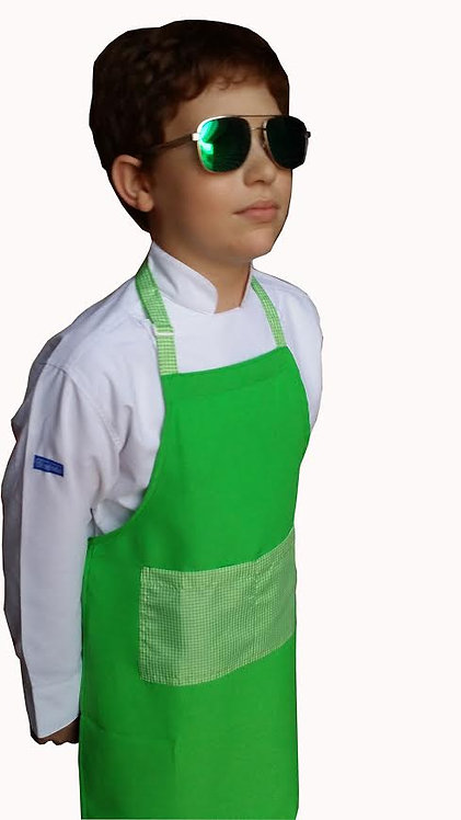 Kids Lime Green  Apron with Gingham pocket