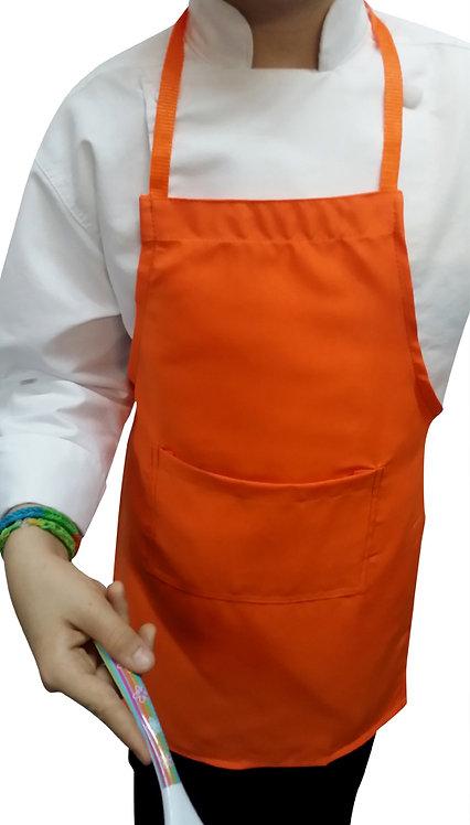 Kids Orange Apron with pocket