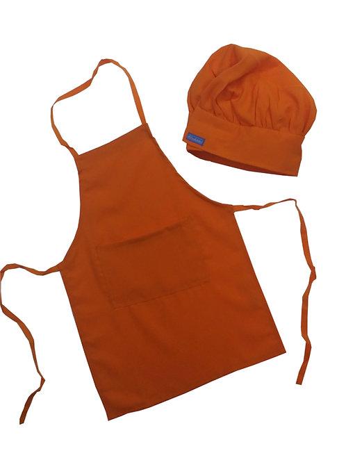 Kids set of Orange Apron + Hat