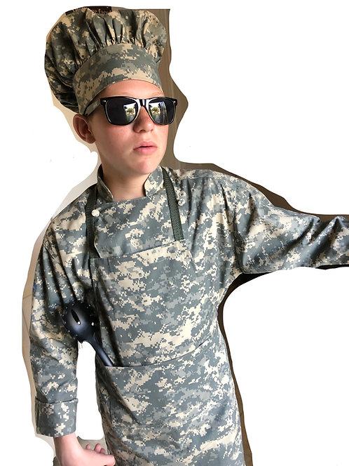 Kids set of ACU CAMO ARMY Digital Apron + Hat