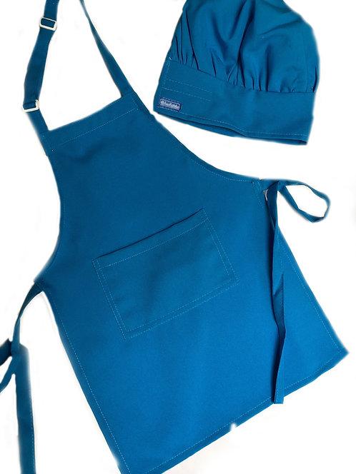 Kids set of Soft Blue (Turquoise) Apron + Hat