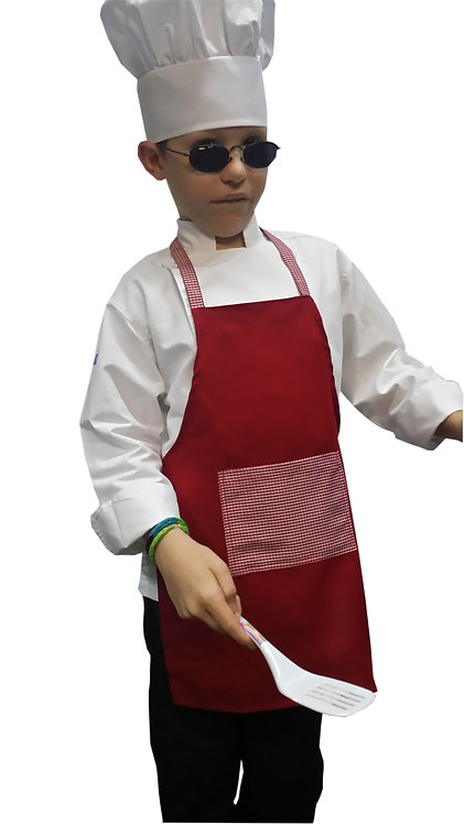Kids Bright Red Apron with Gingham pocket