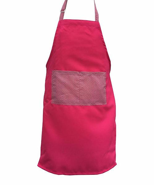 Kids Hot Pink  Apron with Gingham pocket