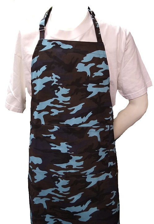 Chef Adult Apron in Camo Woodland Blue Brown Guyana