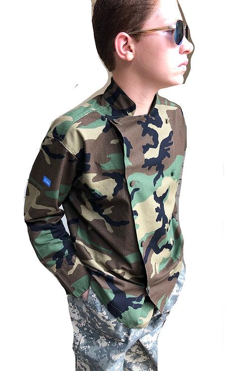 Kids Camo Woodland M81 Chef Jacket
