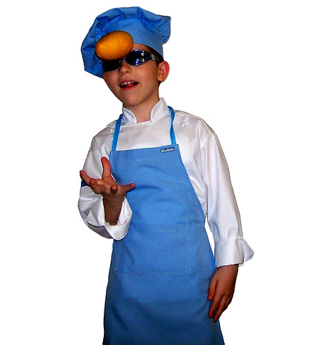 Kids set of Baby Blue (Sky) Apron + Hat
