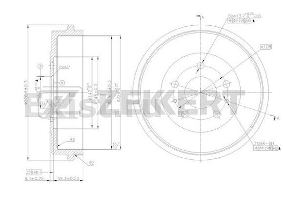 xzk-bs-5186 Барабан тормозной задний Ford Focus II