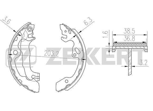 XZK-BK-4188 Колодки торм. Zekkert бараб. зад Ford Focus 98-, Ford Focus II 04-