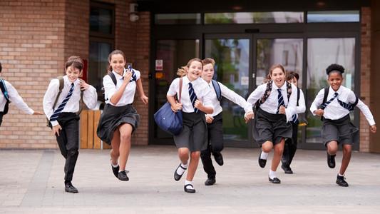 Schoolchildren in uniforms