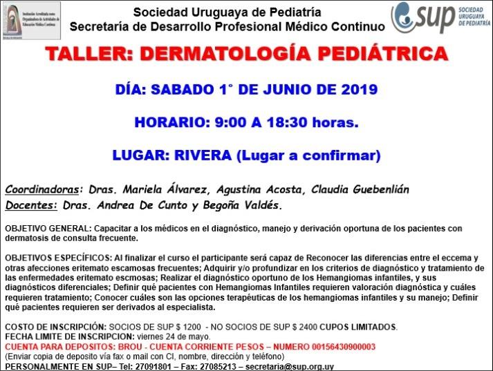 TALLER: DERMATOLOGÍA PEDIÁTRICA