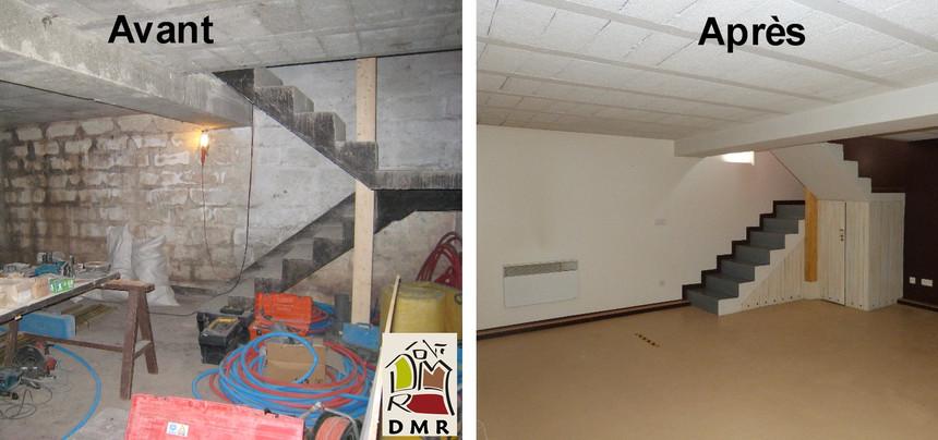 DMR RÉNOVATION Aménagement d'une cave Loft avant après