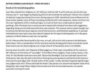 Ruthin Camera Club - Press Release 5