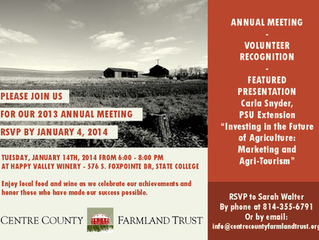RSVP Today to attend the Centre County Farmland Trust 2013 Annual Meeting!