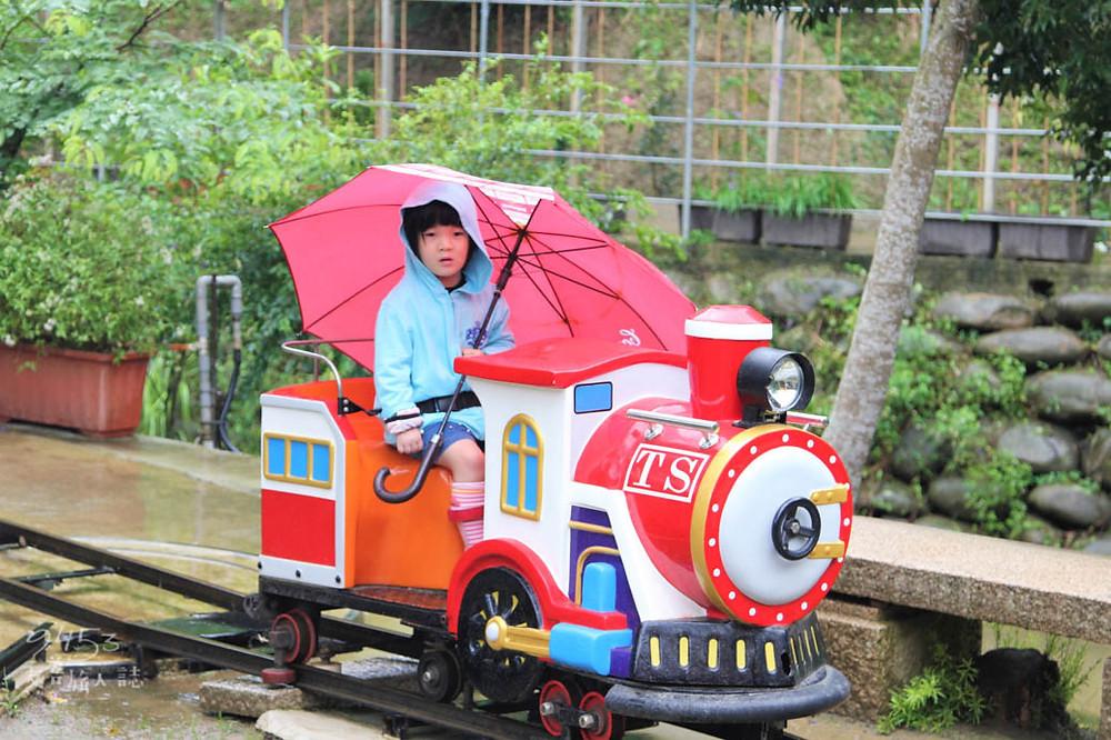小朋友在湖畔搭乘可愛小火車