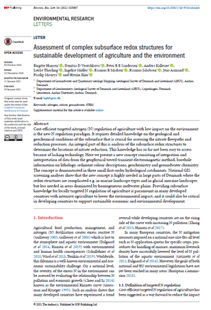 Assessment of complex subsurface redox structures for sustainable development of agriculture and the environment