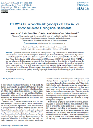 tTEM20AAR: a benchmark geophysical data set for unconsolidated fluvioglacial sediments
