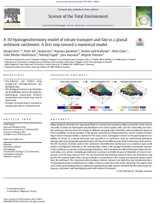 A 3D hydrogeochemistry model of nitrate transport and fate in a glacial sediment catchment: A first step toward a numerical model