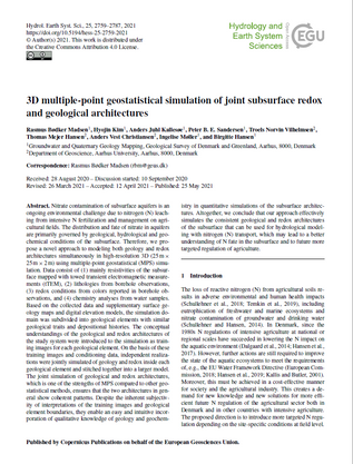 3D multiple-point geostatistical simulation of joint subsurface redox and geological architectures