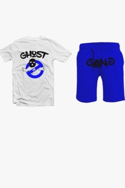 Royal Blue/ White Ghost Gang Short Set
