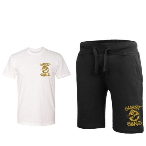 White/Black/Gold Ghost Gang Short Set