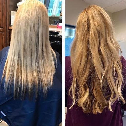 blond hair extensions hair salon Lawrence, KS