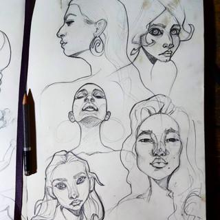 Female Head Sketches
