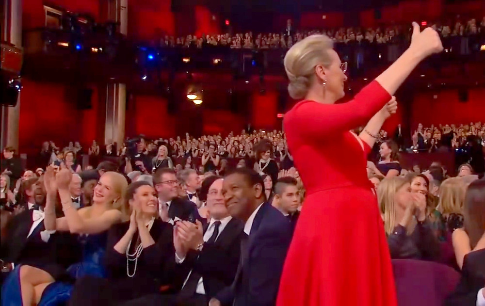 Meryl Streep leads the charge for a round of applause as Frances McDormand uses her Best Actress acceptance speech to recognize the achievements of women in film.