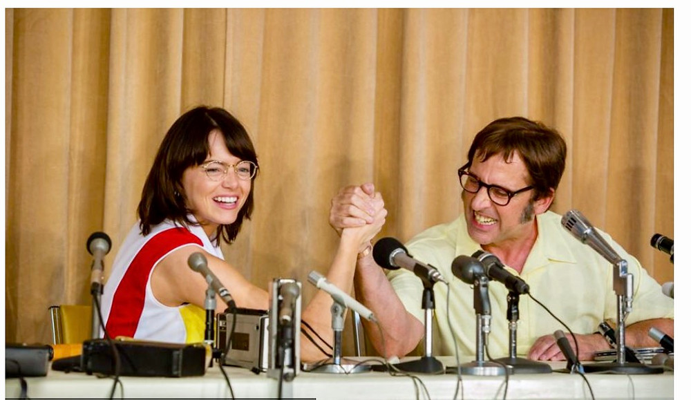 Emma Stone and Steve Carrell on set of Battle of the Sexes