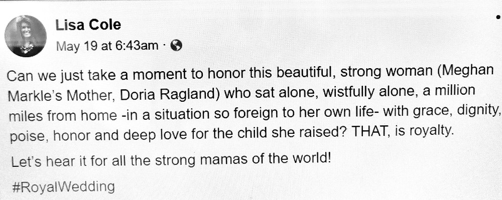 """Facebook member Lisa Cole's tribute to the """"grace, dignity and poise"""" of Doria Ragland."""