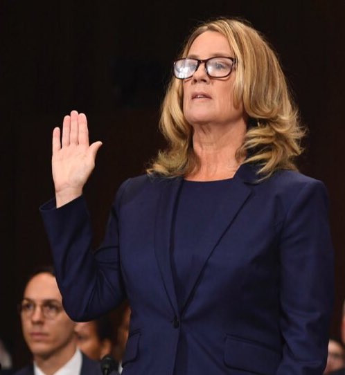 Christine Blasey Ford prepares to testify before the US Senate Judicial Committee