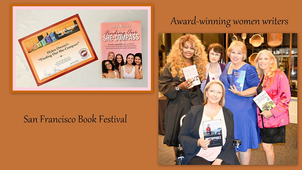 Award-winning women writers, clockwise: Helen Owens, Lynne Barnes, Analie Shepherd, Nancy Addison, and Inga Lizdenyte