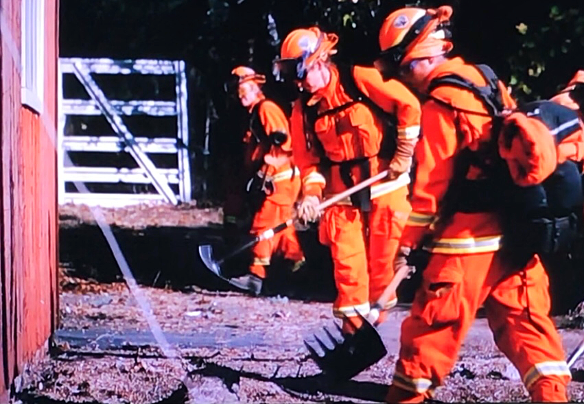 Inmate female firefighters clear the line
