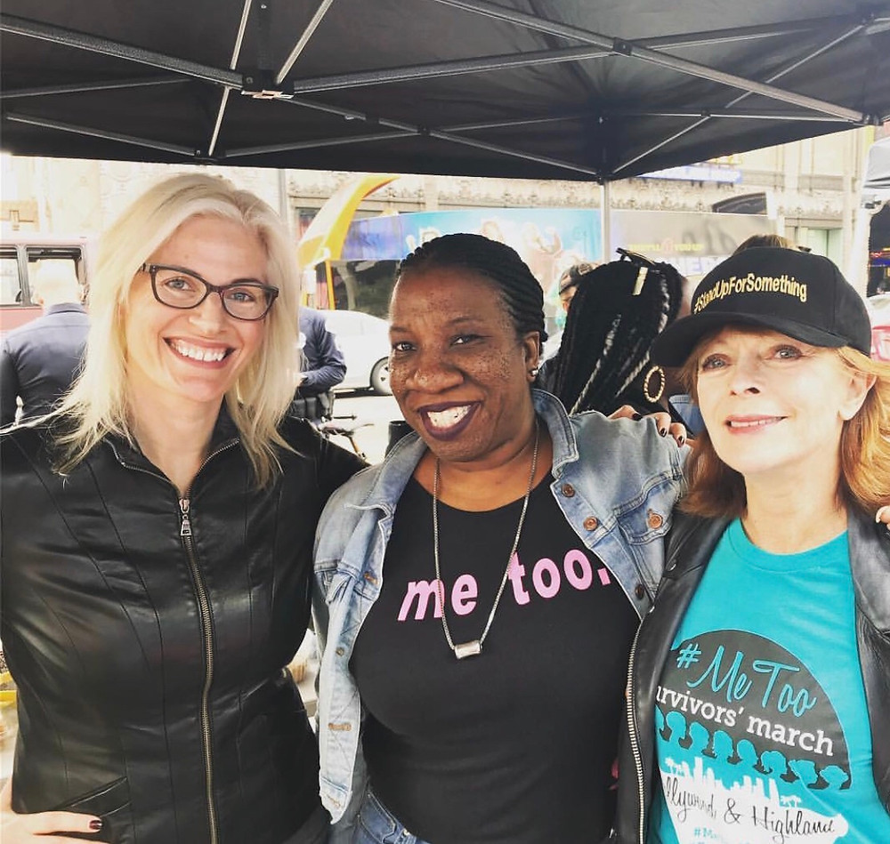 Keeping the fire lit for survivors: Elena Christopoulos is joined by founder of #MeToo Tarana Burke and actress Frances Fisher.