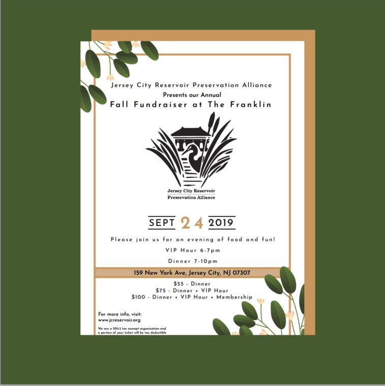 Image is of our paper invitation/flyer. It includes the above information minus the paragraph about what tickets entail, instead directing others to our website for this information. The background of the image is an earthy green, and the invitation is against a gold rectangle as if just taken out of an envelope. The invitation itself is adored with an offset gold border, art-deco reminiscent leaves and flowers in the upper left and bottom right corners, and our stylized logo of a heron amongst cattails and in front of the Troy St Gatehouse.