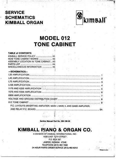 012 Tone Cabinet Service Schematics