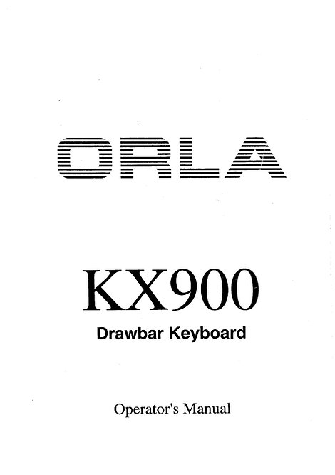 KX900 Owners Manual